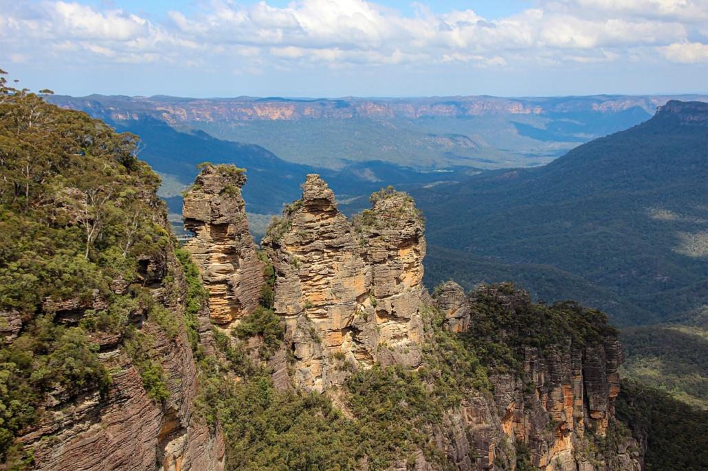 """Die """"Three Sisters"""" - das bekanntesten Wahrzeichen der Blue Mountains"""